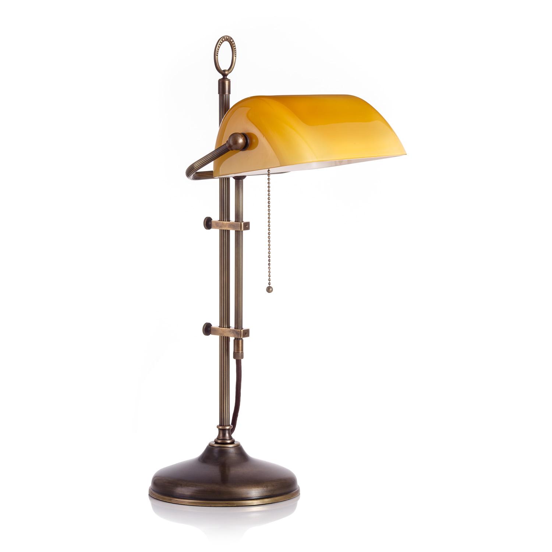 Original Bankerlampe T20S LX Antik, Glas: 9696 cognac