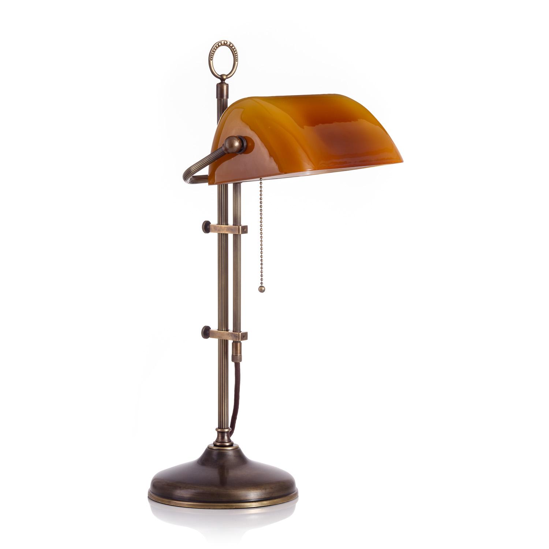 Original Bankerlampe T20S LX Berliner Messing, Glas: 9696 cognac dunkel