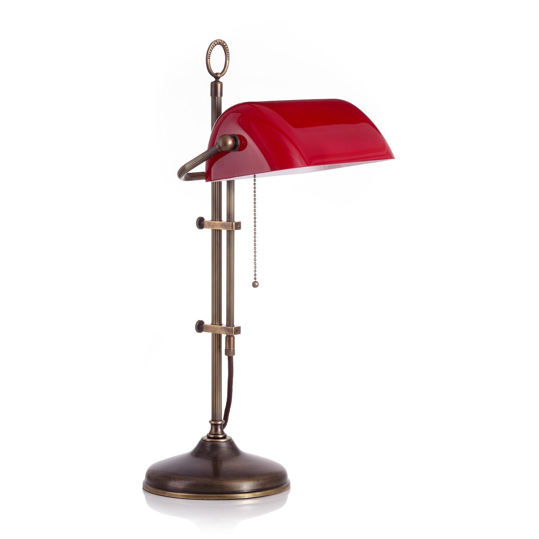 Original Bankerlampe T20S LX Antik, Glas: 9696 rubin