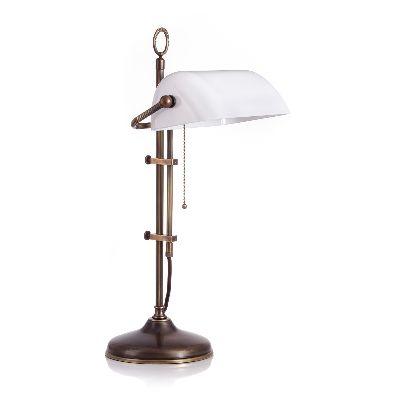 Original Bankerlampe T61S LX Antik, Glas: 9696 opal