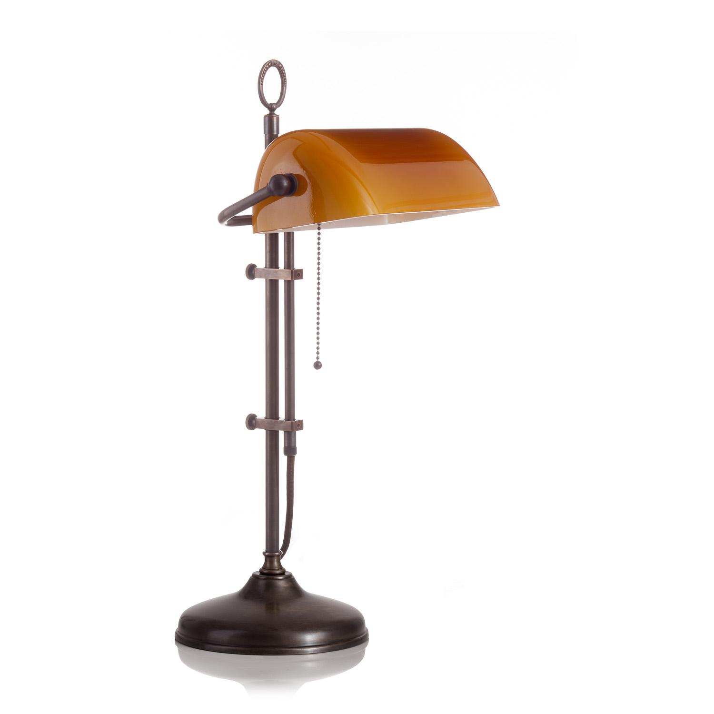 Original Bankerlampe T20S Antik, Glas: 9696 cognac dunkel