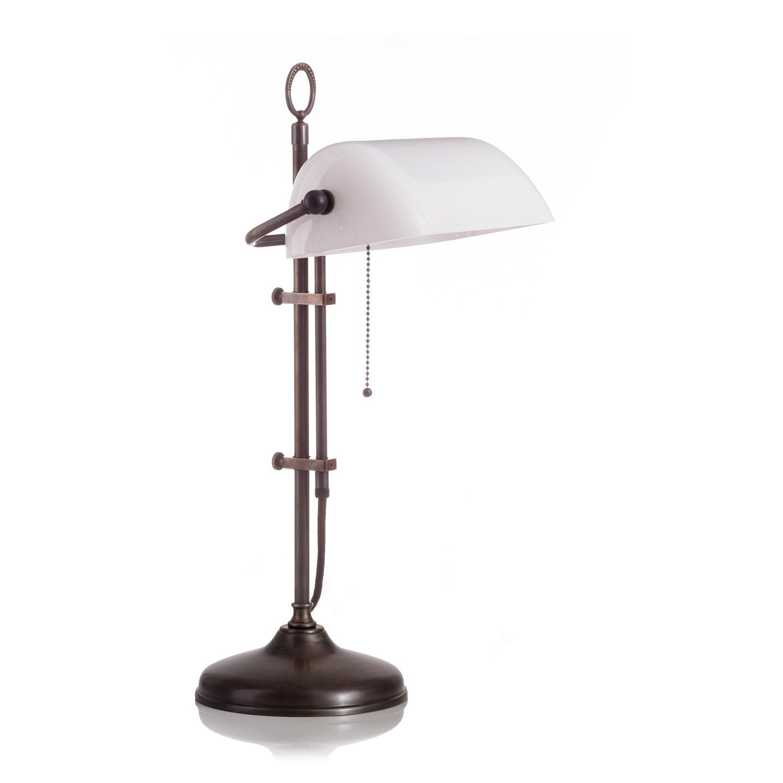 Original Bankerlampe T20S Antik, Glas: 9696 opal