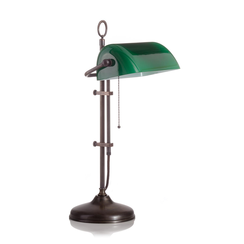 Original Bankerlampe T20S Antik, Glas: 9696 grün matt