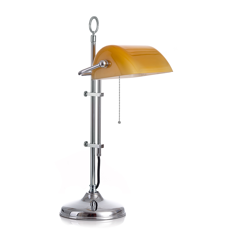 Original Bankerlampe T20S Chrom, Glas: 9696 cognac