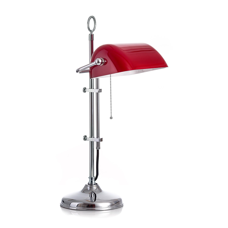 Original Bankerlampe T20S Chrom, Glas: 9696 rubin
