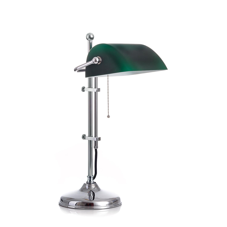 Original Bankerlampe T20S Chrom, Glas: 9696 grün matt