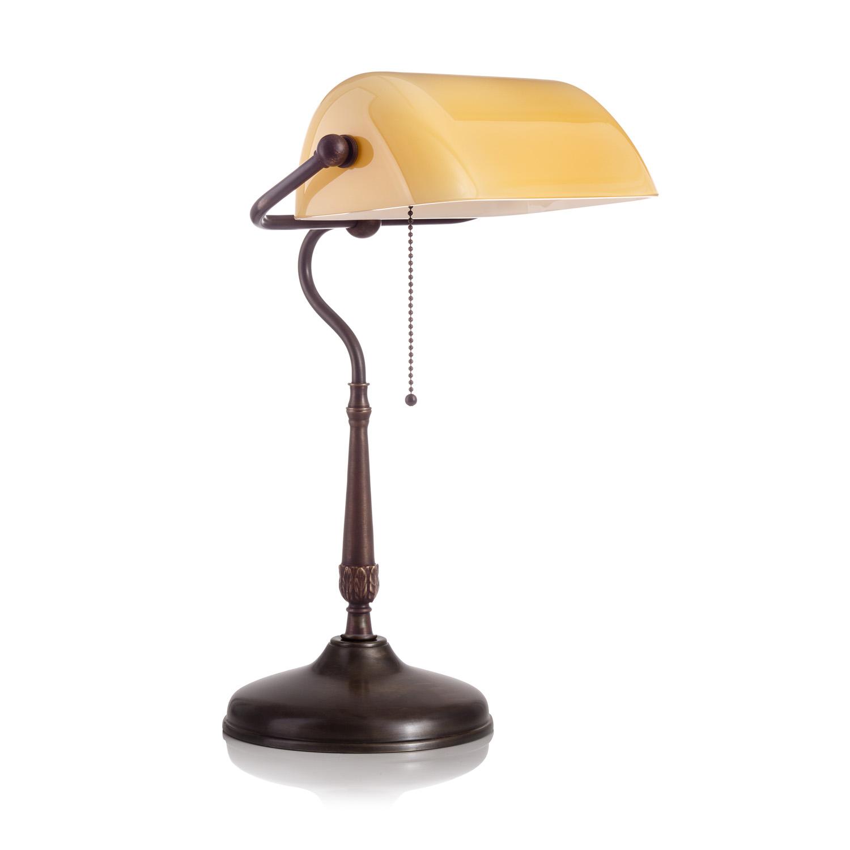 Original Bankerlampe T21 Antik, Glas: 9696 creme