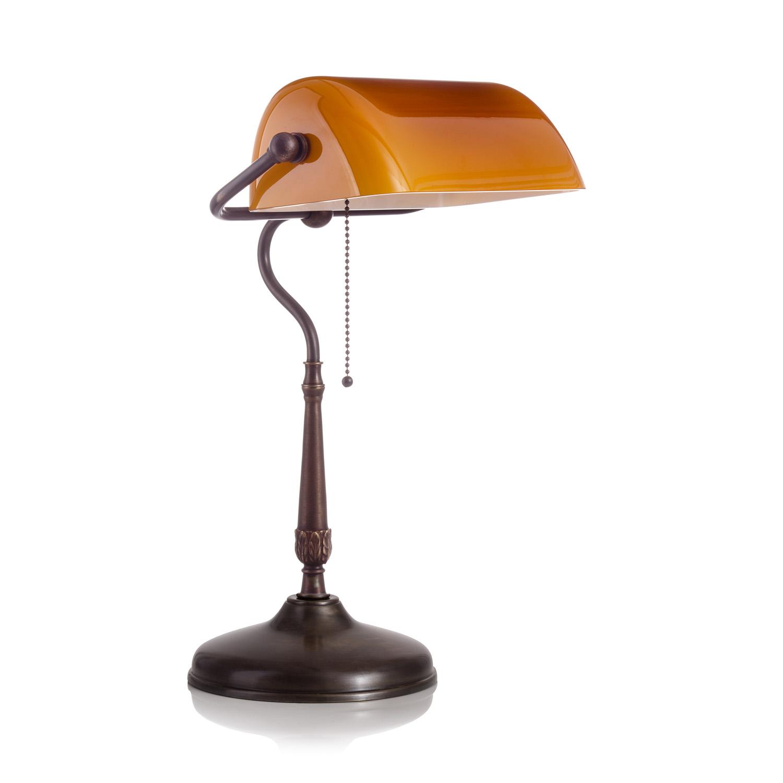 Original Bankerlampe T21 Antik, Glas: 9696 cognac