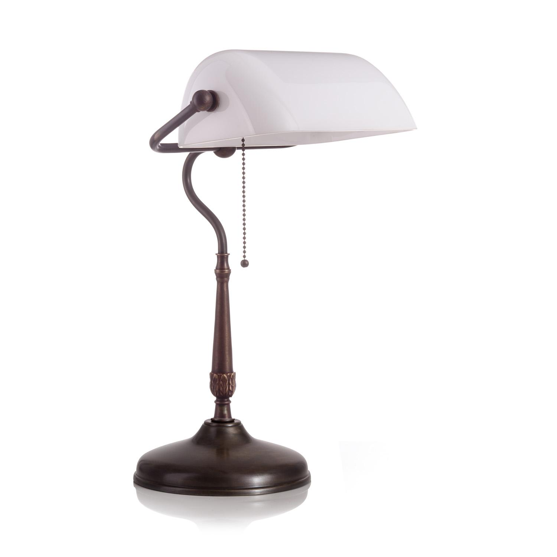 Original Bankerlampe T21 Antik, Glas: 9696 opal