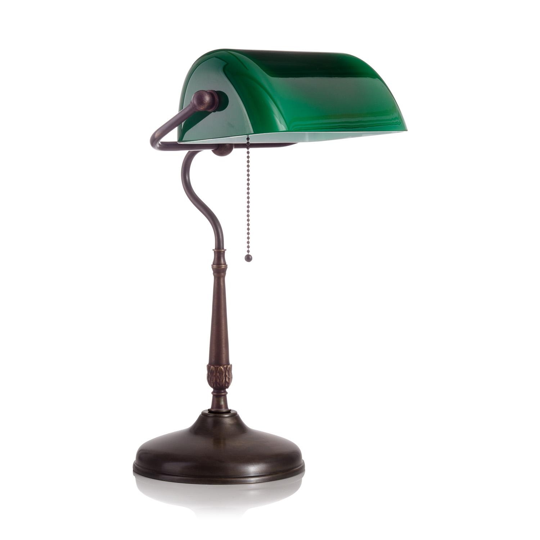 Original Bankerlampe T21 Antik, Glas: 9696 grün