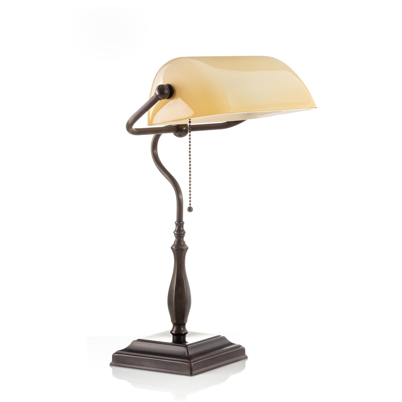 Original Bankerlampe T60 Antik, Glas: 9696 creme