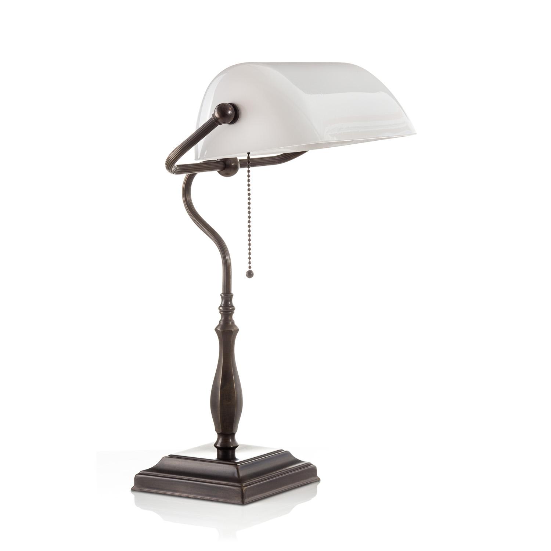 Original Bankerlampe T60 Antik, Glas: 9696 opal