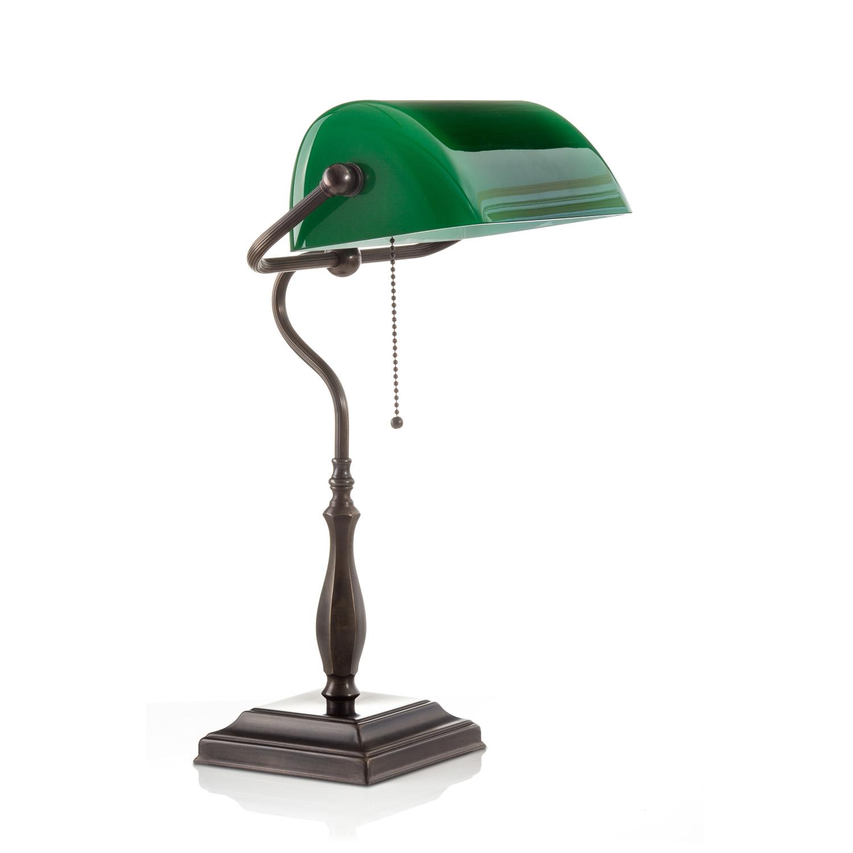 Original Bankerlampe T60 Antik, Glas: 9696 grün