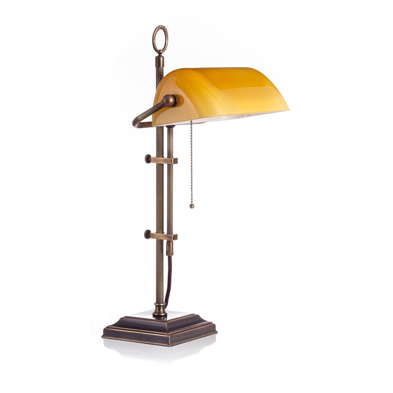 Original Bankerlampe T61S LX Rustik, Glas: 9696 cognac