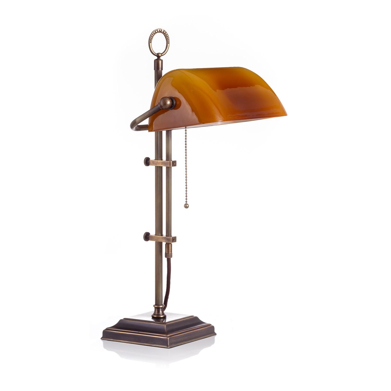 Original Bankerlampe T61S LX Rustik, Glas: 9696 cagnac dunkel