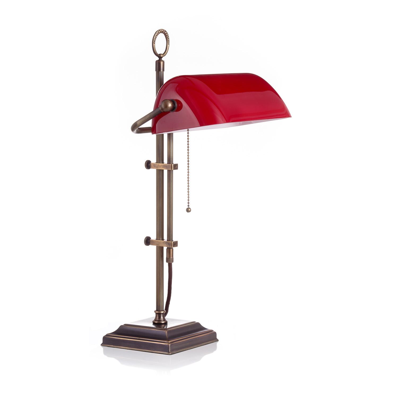 Original Bankerlampe T61S LX Rustik, Glas: 9696 rubin
