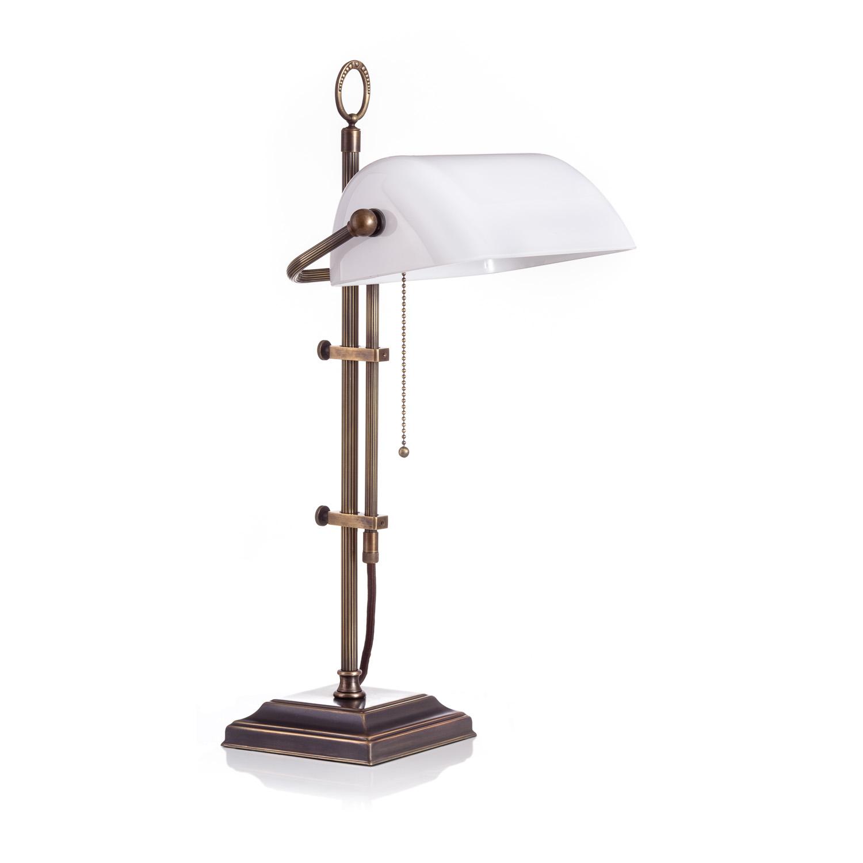 Original Bankerlampe T61S LX Rustik, Glas: 9696 opal