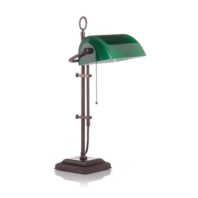 Original Bankerlampe T61S Antik, Glas: 9696 grün