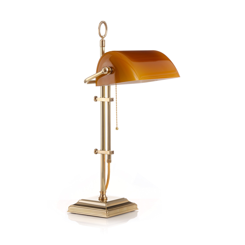 Original Bankerlampe T61S Berliner Messing, Glas: 9696 cognac dunkel