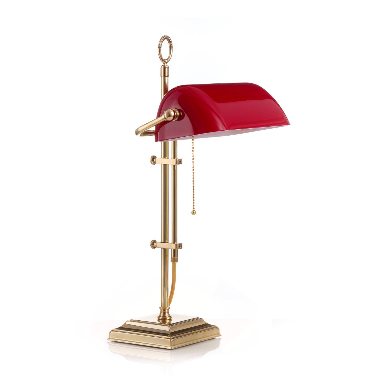 Original Bankerlampe T61S Berliner Messing, Glas: 9696 rubin