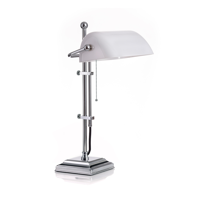 Original Bankerlampe T61S LX Chrom, Glas: 9696 opal