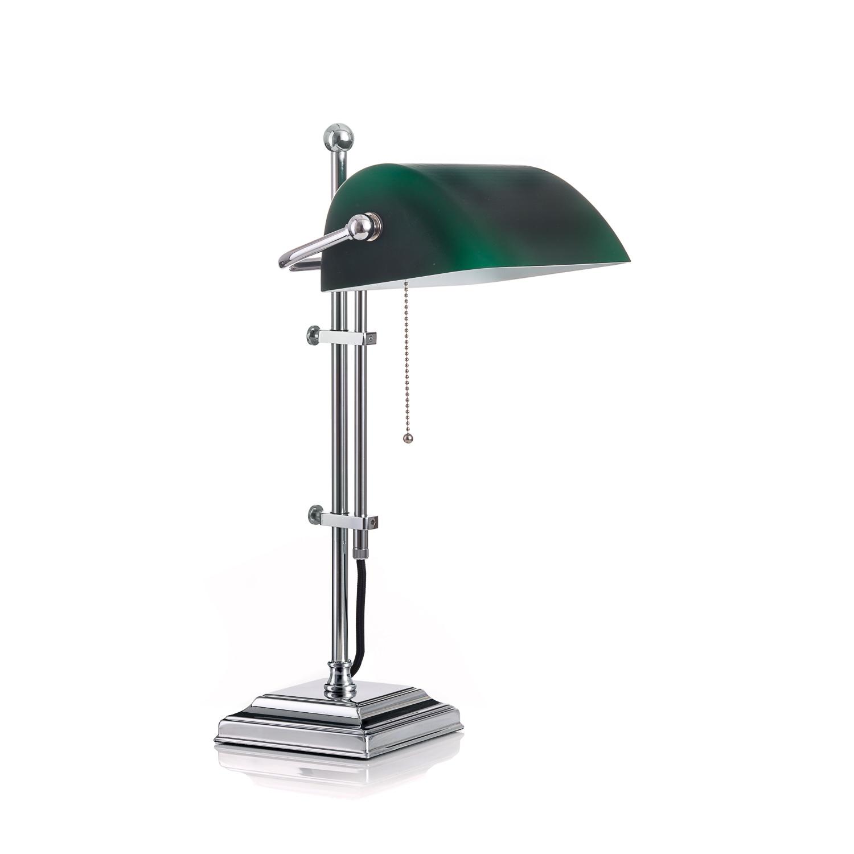 Original Bankerlampe T61S LX Chrom, Glas: 9696 grün matt